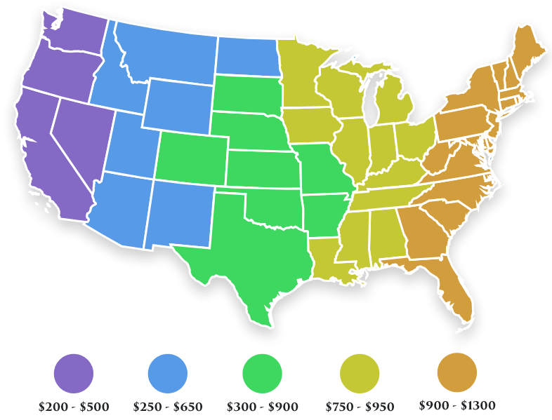 USA Shipping Rate Map